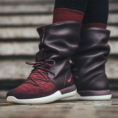 super popular 58106 bbd16 BNWB WOMEN'S NIKE Roshe Two Hi Flyknit Leather Deep Burgundy Boots 861708  600