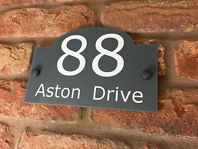 House Number Sign / Plaque. Modern Contemporary Grey Acrylic Door / Traditional