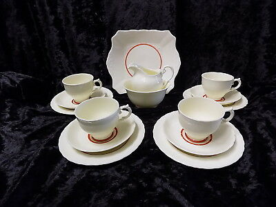 Vintage Plant Tuscan China Teaset, cream with red band at the base 15 pieces+3