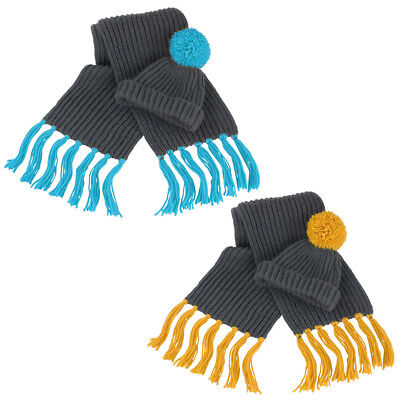 Unisex Result Winter Essentials Fashionable Chunky Knit Hat & Scarf Set One Size