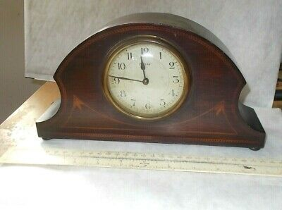 Edwardian Inlaid Mahogany Mantle Clock With Signed French 8 Day Movement. Works.
