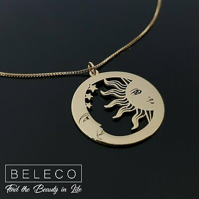 Sun And Moon Necklace Celestial Pendant Astrology Jewelry Moon Gift Stars Charm