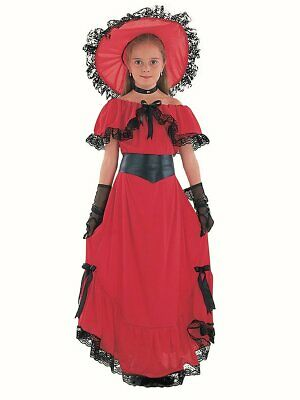 Scarlet O Hara Victorian girls fancy dress costume world book day Red Dress Hat