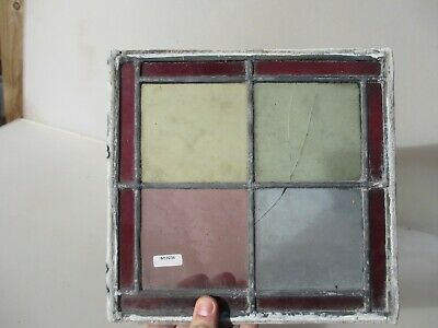 Antique Stained Glass Window Panel Old Antique Leaded Victorian CRACKED  10""