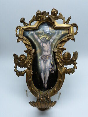 Emaille Bild Bronze Weihwasserkessel Limoges Enamel Painting Holy Water Basin