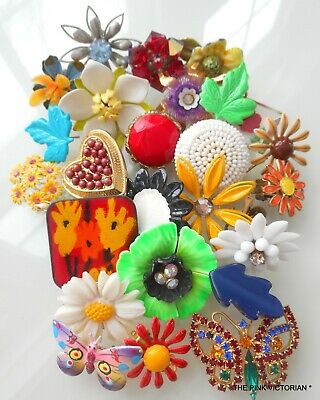 Vintage Jewelry Craft Lot,flowers,mixed Media Art,tile Accents,bouquet Art