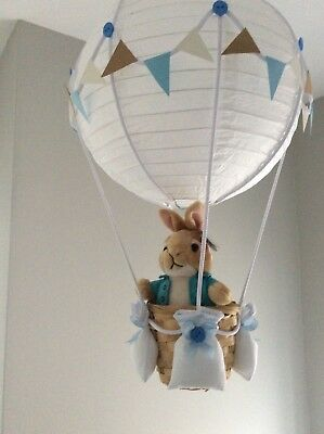 Peter rabbit  theme hot air balloon nursery light shade, made to order
