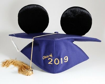 Disney Parks Mickey Mouse Ears Graduation Full Cap Class of 2019 Tassel Hat NEW