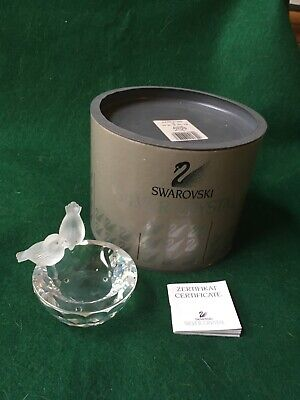 Swarovski Crystal bird bath #7460 Mint Condition With box and certificate.