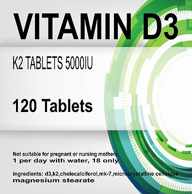 120 x MAX STRENGTH VITAMIN D3 & K2 TABLETS 5000IU u002F 100mcg Cholecalciferol &