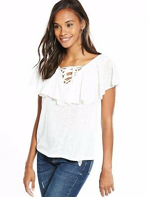 V by Very Frill Tie Up Front Top White Size UK 10 rrp £22 DH079 RR 06