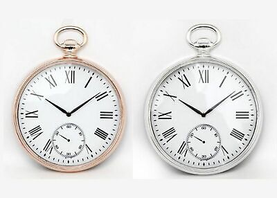 Large Wall Clock Roman Numerals Copper Silver Round Pocket Fob Watch Style 38cm