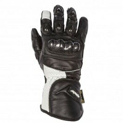 Spada Beam Mens Black White CE Approved Leather Motorcycle Gloves