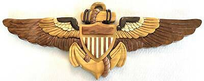 NAVAL AVIATOR INSIGNIA  - NAVY WINGS  - Handcrafted Wood Art Military Plaque