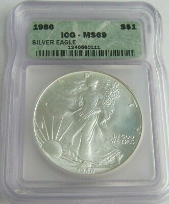 1986 ICG MS69 AMERICAN SILVER EAGLE ~First Year of Issue~
