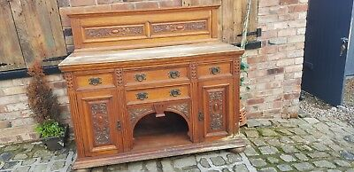 Large antique Carved Oak Dresser Trade sale easy DIY TLC, same owner 33 yrs