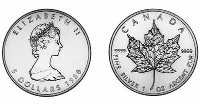 PURE SILVER COINS Maple Leaf 1988 $5 Canada  1 oz pure .9999 Sealed lot of 35)