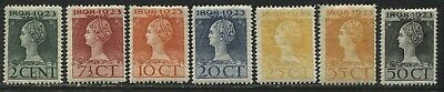 Netherlands 1923 Queen Wilhelmina various values 2 cents to 50 cents mint o.g.