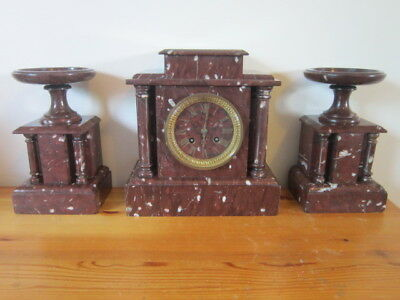 Antique French, Japy Freres Marble Clock Set, Approx. 1880 - Nice
