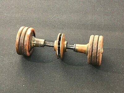 g99-- 2 Vintage Wood Turned Doorknobs Cover plates Connecting Rod antique
