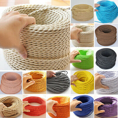 Braided Cable Antique Electric Coloured Vintage 3 Flex Lamp Fabric Twisted Core