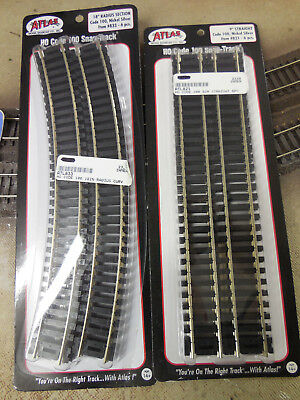 Atlas Code 100 Snap Track- Nickel Silver- 6 straight & 6 curved- nib