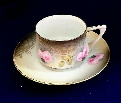 RS GERMANY PRUSSIA Floral DEMITASSE CUP & SAUCER SET Flowers Pink Roses