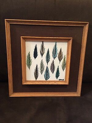 Beautiful Harris Strong Framed Mid-Century Modern Trees Tile Abstract Design