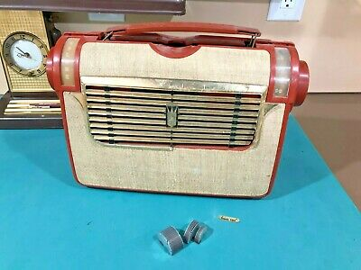 HTF vintage 1953 Zenith 5J41 J504 Portable Tube Radio battery AC