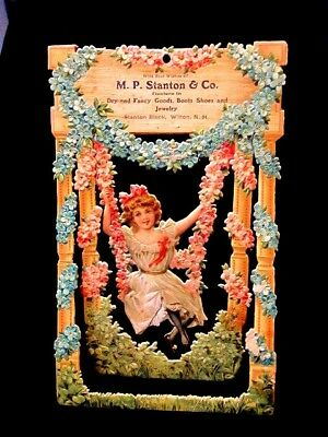 Victorian Trade Card Girl On Swing Real Beauty