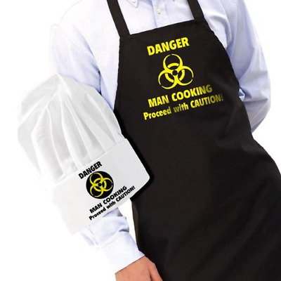 Danger Man Cooking Apron and Chef's Hat Set – Novelty Funny Mens Gadgets...