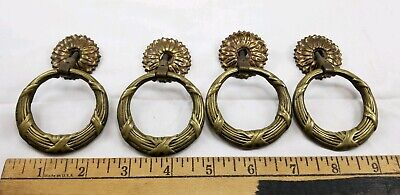 Vintage Brass Round Ring Cabinet Drawer Door Pull ANTIQUE VICTORIAN 21674 Flower