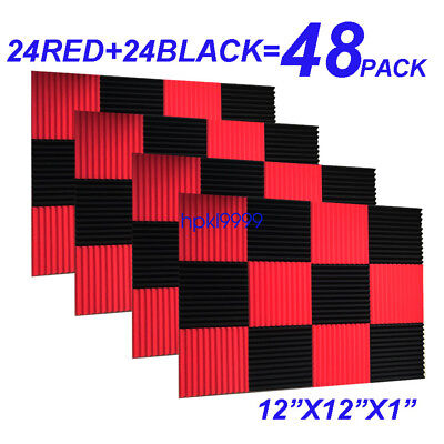 "48Pack 12""X12""X1"" RED BLACK Acoustic Foam Panel Studio Soundproofing Wall Tiles"