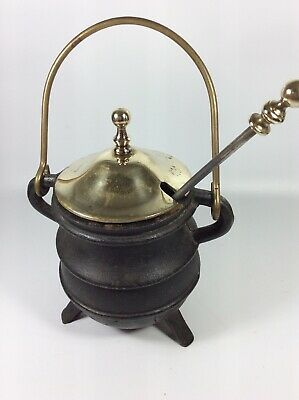 Antique Vtg. Cast Iron Cape Cod Style Fire Starter Pot With Brass Lid & Wand