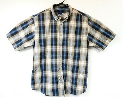 1d44fe2054ea Mens Basic Editions Blue Brown Plaide Button Down Short Sleeve Shirt L Large
