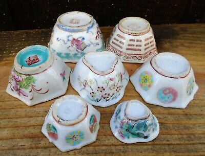 (7) Small 19Th C Chinese Enameled Bowls Some Marked Nr