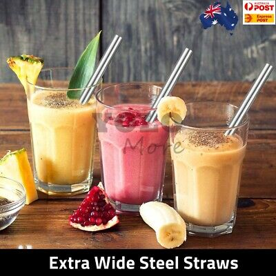 Thick Shake Milkshake Stainless Steel Straws Reusable Metal Drinking Straw AUS