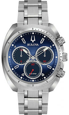 Bulova 96A185 Sports Curv Blue Dial Stainless Steel Chronograph Men's Watch