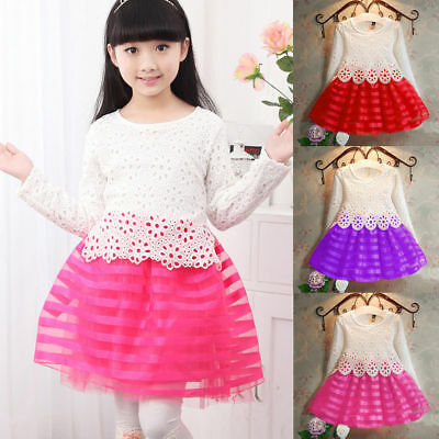 Kids Baby Girls Dress Long Sleeve Lace Crochet Princess Party Tulle Tutu Dresses