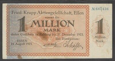 Essen, Fried. Krupp Aktienges.; 1 Mio. Mark vom 14. August 1923