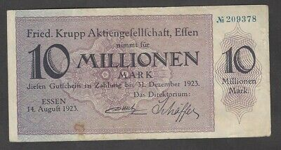 Essen, Fried. Krupp Aktienges.; 10 Mio. Mark vom 14. August 1923