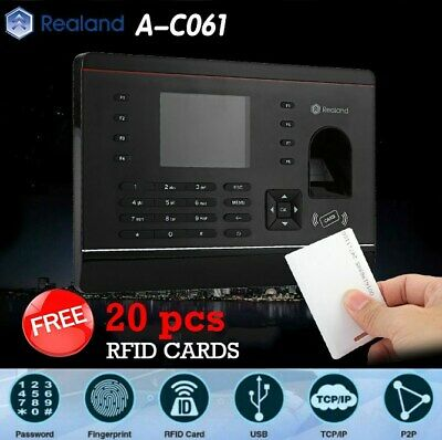 Realand A-C061 Biometric Fingerprint Time Attendance Clock TCP/IP USB + 20 Cards