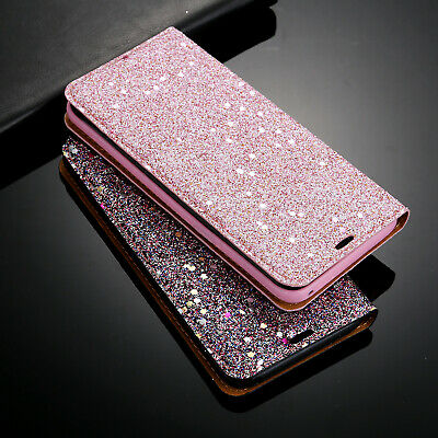 Samsung Galaxy S7 S8 S9 Plus Glitter Leather Phone Case Flip Wallet Cover Stand