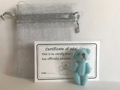 Mini Blue Teddy in Gift Bag With Adoption Certificate Party Bag Travel Teddy