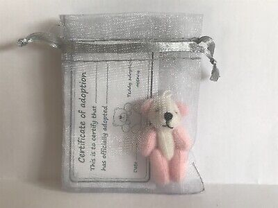 Tiny Panda Teddy in Gift Bag With Adoption Certificate Party Bag Travel Teddy