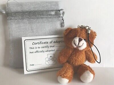 Small Brown Bear & Gift Bag With Adoption Certificate Party Bag Travel Teddy