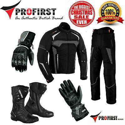 Motorcycle Riding Suits Mens Leather Jacket bike boots Motorbike Gloves Grey