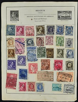 Belgium Double Sided Album Page Of Stamps #V8221