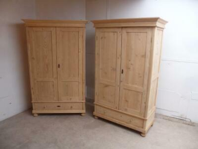 A Lovely Pair of Antique/Old Pine Knockdown Wardrobes to Wax/Paint