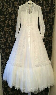 Vintage Wedding Dress 1980's Pronuptia De Paris White Lace Ribbon Hooped UK 14